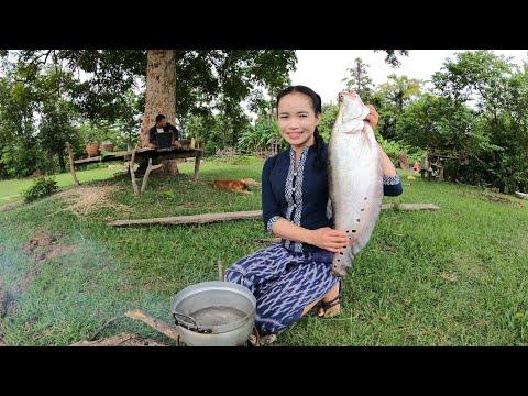 ลาบปลาตองตัวใหญ่กินข้าวเที่ยงก