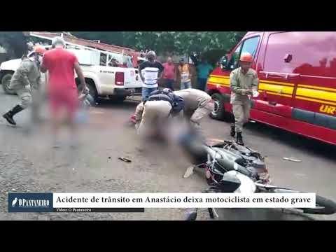 Acidente de trânsito em Anastácio deixa motociclista em estado grave