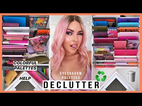 COLORFUL Eyeshadow Palette Declutter ??? HUGE MAKEUP ORGANISATION 2020