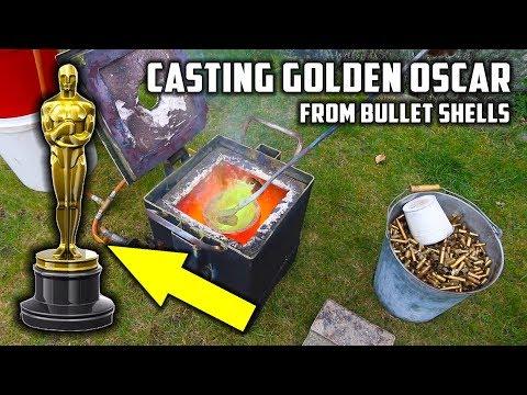 connectYoutube - Casting 'Golden' Oscar Award Trophy in Brass from Empty Bullet Shells
