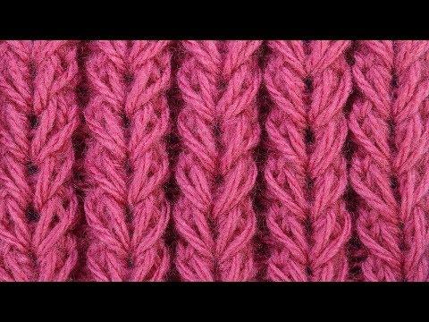 Rib stitch knit pattern Резинка с косами  узор вязания спицами 59
