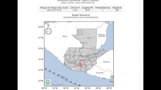 Temblor de magnitud 5.2 fue sensible en Guatemala