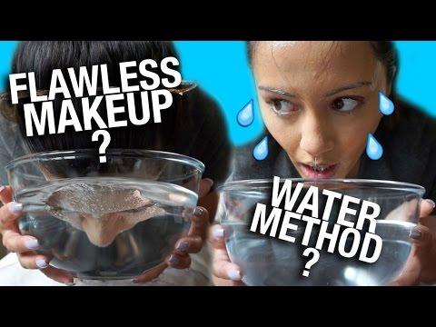 "WEIRD WAY TO GET FLAWLESS MAKEUP"" ? WATER METHOD"" ?"