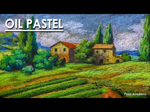An Italian Countryside : Oil Pastel Landscape Drawing