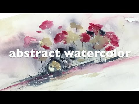 abstract watercolor landscape painting + tip to add hightlights