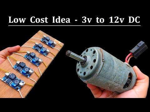 Make DC Motor Step-up Supply 3v to 12v using DC Buck Boost Converter XL6009