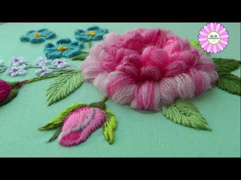 Amazing wool flower by @Janice Lee Embroidery제니스리의 프랑스자수 | raised lazy daisy stitch