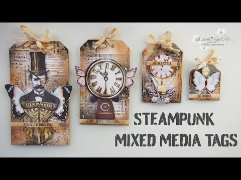 Mixed Media Vintage Steampunk Style Tags ♡ Maremi's Small Art ♡