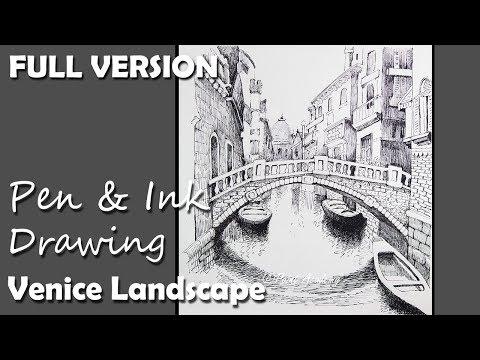 Pen & Ink Drawing | Venice Landscape [FULL VERSION]