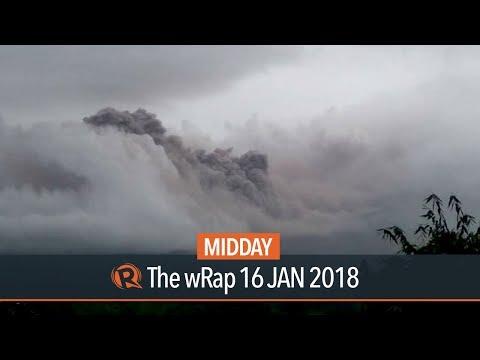 Mayon Volcano spews debris, hot gases
