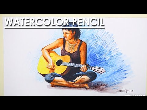 Watercolor Pencil Drawing : Girl with A Guitar