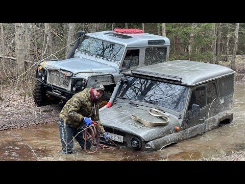 Даже УАЗ на бортовых редукторах Т40 И 42 колёсах на лебедке) jimny который может всё