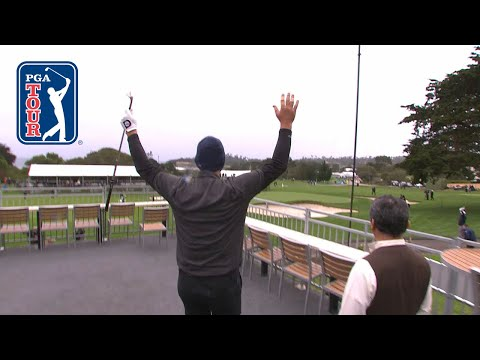 Tony Romo sticks it close from hospitality tent to set up birdie at AT&T Pebble Beach 2019