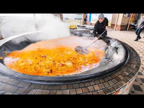BIGGEST 4000KG Street Food in the WORLD - Extreme HORSE Plov HOT POT +  Street Food in Uzbekistan!!