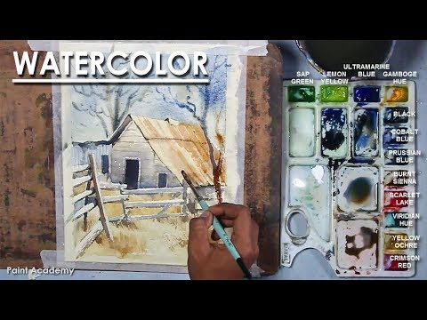 Barn : Watercolor Tutorial | easy steps to follow