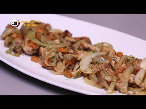 Receta Ají: Pollo salteado con arroz con crema de leche y choclo
