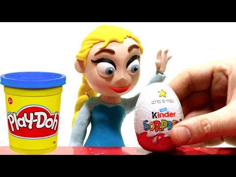 connectYoutube - Princess Elsa unboxing a kinder surprise egg. Clay Stop motion video, funny for kids