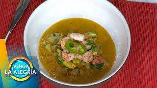 ¡Aprende a preparar junto con El Chino unos ricos Camarones en salsa de pimiento! | Venga La Alegría
