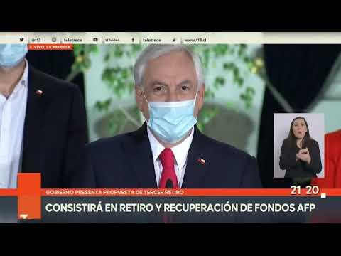 Presidente Piñera realiza anuncio sobre proyecto de retiro del 10%