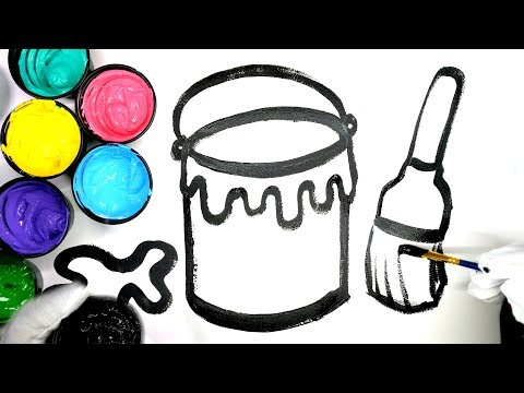 How to draw paint bucket with paint, paint brush painting pages, coloring paint brush, learn colors