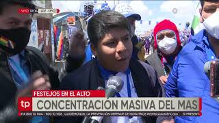 Danzas, ofrendas y música en el festejo del MAS en El Alto