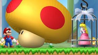 New Super Mario Bros. Wii - Mega Mushroom Fight in the first Level