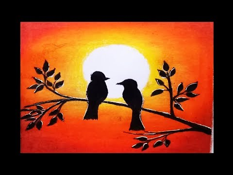 How To Draw Lovebirds In A Sunset By Oil Pastel Step By Step Tomclip