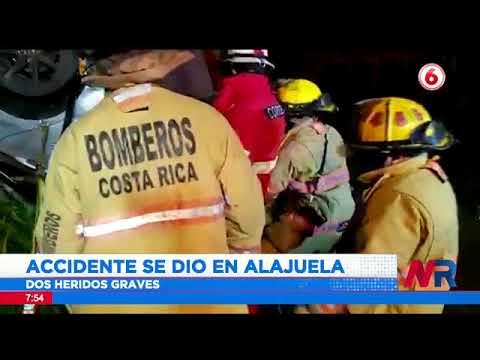 Dos personas luchan por sus vidas tras accidente en Alajuela
