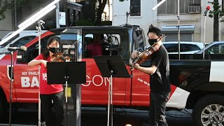 New York Philharmonic musicians perform outdoors amid pandemic