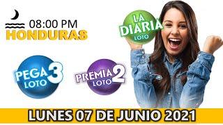 Sorteo 08 PM Loto Honduras, La Diaria, Pega 3, Premia 2, lunes 07 de junio 2021 | ? ???? ????????