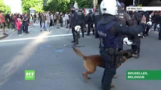 Belgique : des affrontements lors d'une manifestation anti-confinement à Bruxelles
