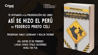 """Federico Prieto anuncia libro """"Así se hizo el Perú"""""""