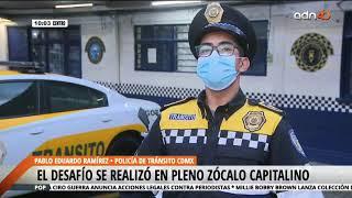 Policía gana reto de lagartijas durante manifestación en la CDMX