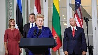 Spaudos konferencija po Lietuvos, Latvijos, Estijos vadovų ir JAV viceprezidento Mike Pence...