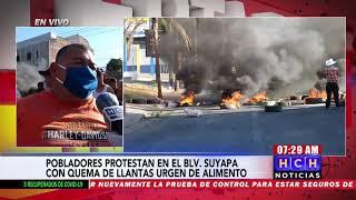 ¡Protesta! Vecinos del cerro Juana Laínez exigen alimentos en bulevar Suyapa