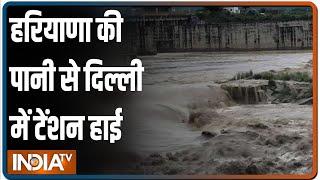 Haryana में झमाझम बारिश से यमुना नदी उफान पर, दिल्ली के निचले इलाकों में बाढ़ का खतरा, अलर्ट जारी - INDIATV