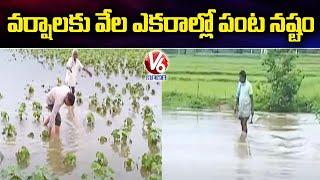 వర్షాలకు  వేల ఎకరాల్లో పంట నష్టం.. Farmers Face Huge Losses Over Flood Water Enters Into Farms | V6 - V6NEWSTELUGU