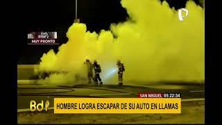 San Miguel: auto se incendia por aparente corto circuito en plena Costa Verde