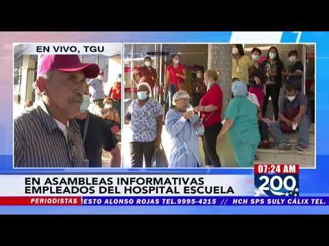 """¡Plantón! En paro sindicato del Hospital Escuela denunciando contratación de """"pésimos trabajadores"""""""