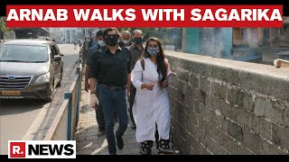 Arnab Goswami Walks With Sagarika Mitra In Solidarity As She Is Summoned By Mumbai Police