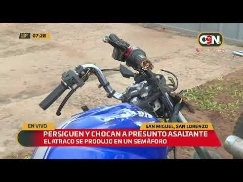 Persiguen y chocan a presunto asaltante en San Lorenzo