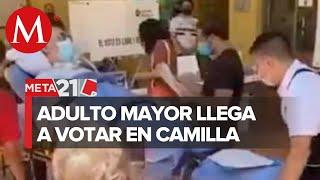 En Jalisco, un hombre de la 3ra. Edad llegó a votar en camilla