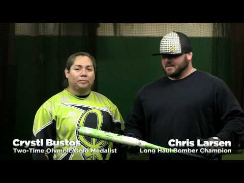 Crystl Bustos & Chris Larsen Swing the 2014 DeMarini Mercy Slow Pitch Bat! Video