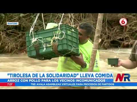 Tirolesa de la solidaridad lleva comida a una comunidad en Guatuso