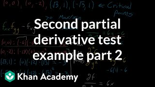 Second partial derivative test example, part 2