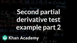 Second partial derivative test example, part 2