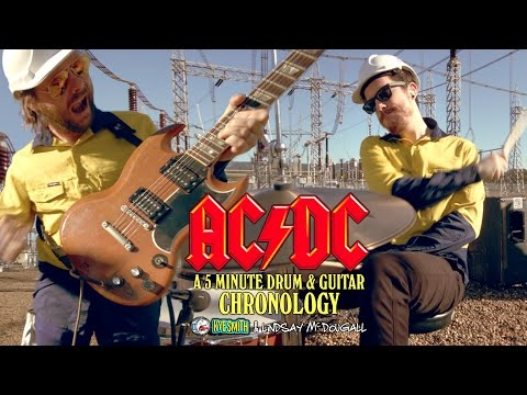 connectYoutube - AC/DC: A 5 Minute Drum & Guitar Chronology - Kye Smith & Lindsay McDougall [4K]