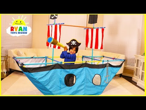 Ryan Pretend Play with Pirate Ship Tent!