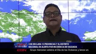COE declara 13 provincias  y el DN en alerta por incidencia de vaguada