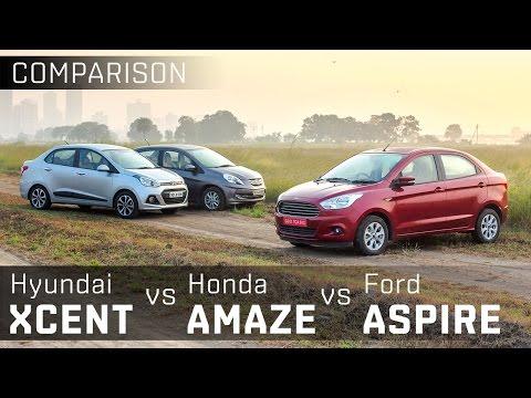 Ford Figo Aspire Vs Hyundai Xcent Vs Honda Amaze Sel Compact Sedan Comparison Zigwheels Video